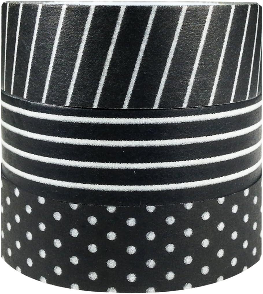 Cintas Washi Tape, 3 rollos, blanco y negro (10 metros)
