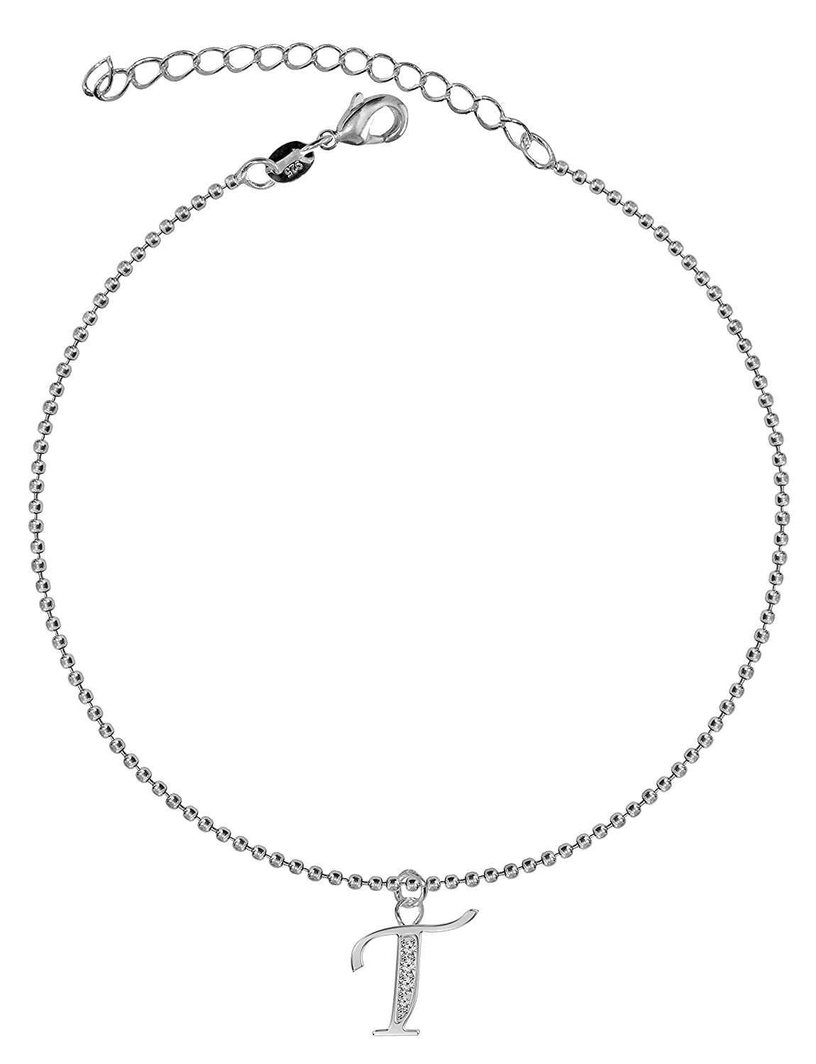 Dangle Anklet–argents-facile Letter To Wear, Suitable for Everyday Wear–We use the best quality CZ cristaux- Link 21cm with 5cm extension–Packed in a lovely velvet pouchette avantgarde PENANK001-A-CL