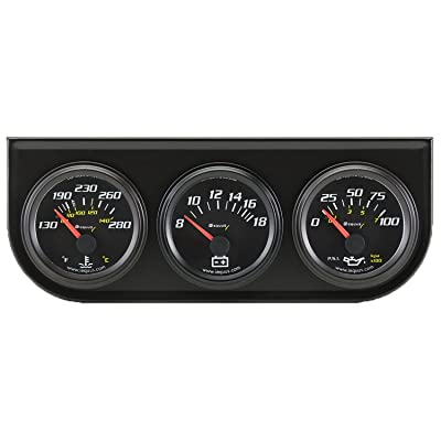 "Equus 6200 2"" Volt Triple Gauge Kit, Black: Automotive"