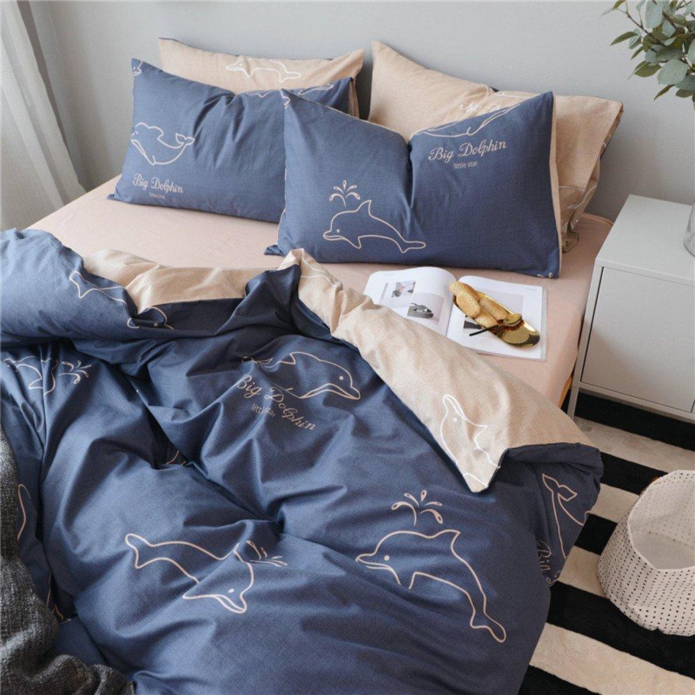 4 pc カバー セット,4個セット な 純粋なコットン 掛け布団カバー シーツ寝具 ベッド キット-E B07F6525VQ King|E E King