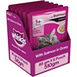 Whiskas Salmon in Gravy, Wet Gravy food for Adult Cats,  85 g pouch (Pack of 6)