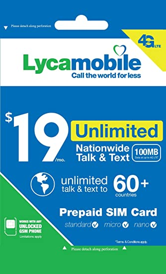 Amazoncom Lycamobile 19 Plan 1st Month Included SIM Card is