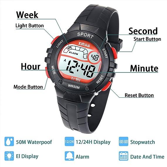 Reloj Digital para Niño Niña,Chicos Chicas 50M(5ATM) Impermeabl Deportes al Aire