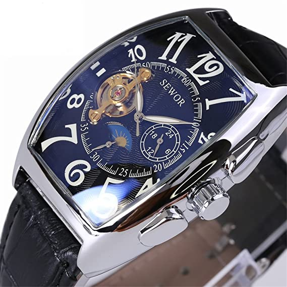 Mechanical Watches Analytical Cool Brand Fashion Double Tourbillon Mechanical Watches Self-winding Leather Strap Mens Dress Wrist Watch Roman Moon Phase Watch