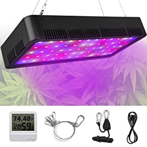 LED Grow Light, Honesorn 600W Full Spectrum Growing Lamp with UV&IR, Indoor Garden Plant Light with Thermometer Humidity Monitor and Adjustable Rope, Grow Lights for Indoor Plants, Greenhouse
