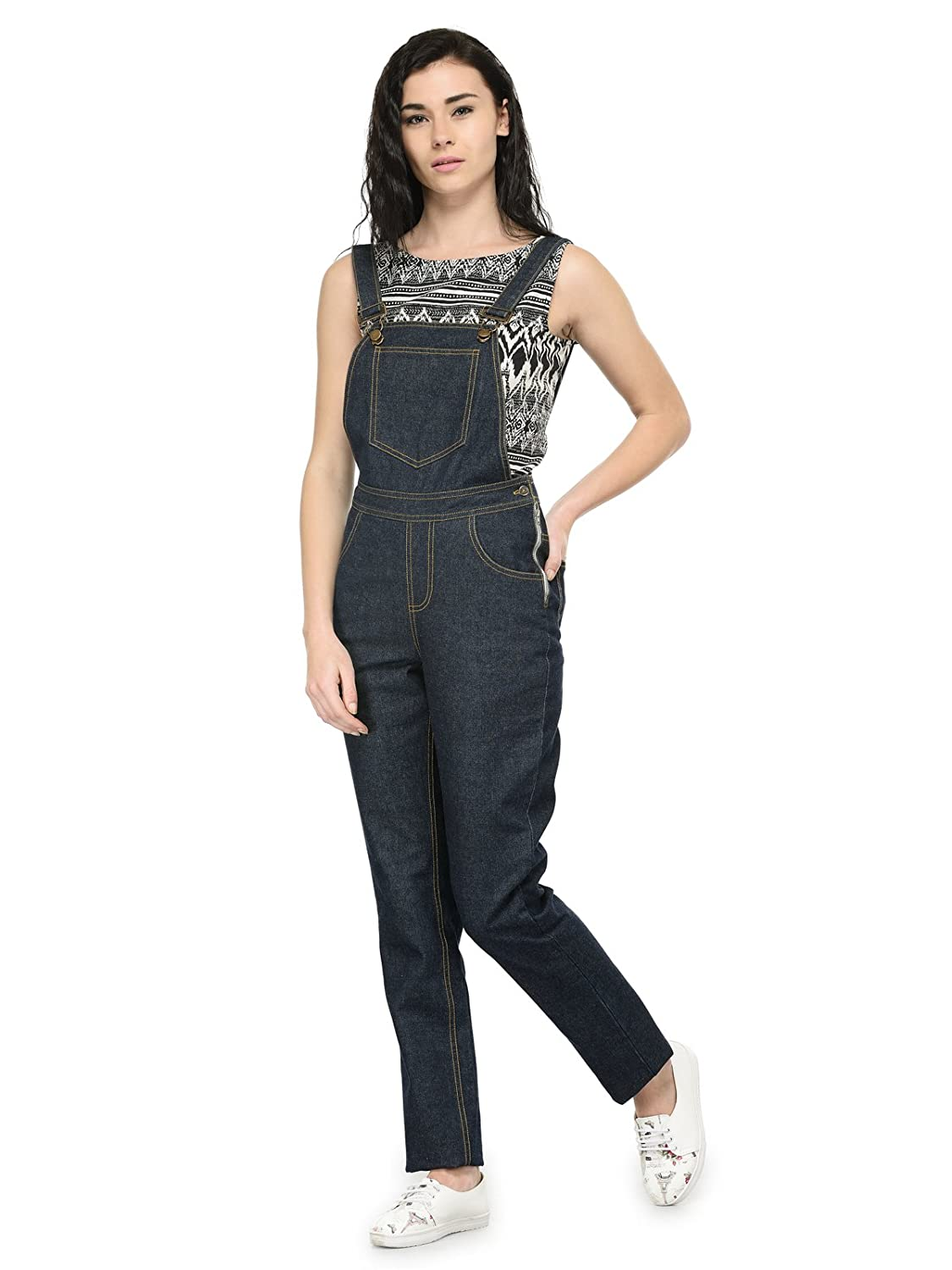 262545cd01cc Tunic Nation Denim Blue Solid Dungaree  Amazon.in  Clothing   Accessories