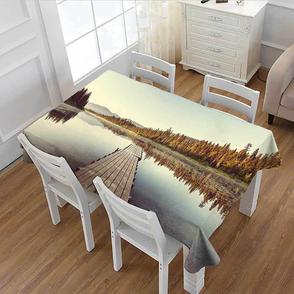 """Davishouse Fall Dinning Tabletop Decor Wooden Pier on the Lake Serene Morning in the Woods Fishing Misty Recreational Image Table Cover for Kitchen Multicolor 52""""x70"""""""