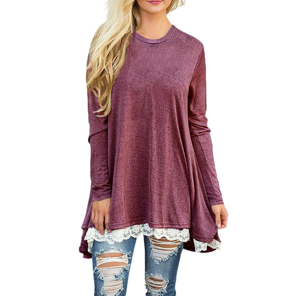 Fashion Story Women's Casual Lace Long Sleeve T-Shirt Dress SPB17880