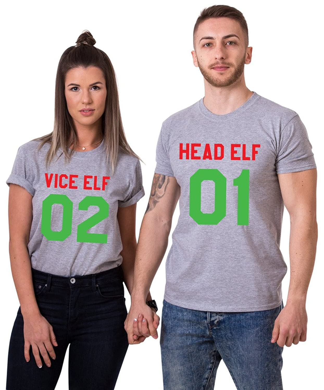 Vice Elf 02 Head Elf 01 Matching T-Shirts, Couple Outfit (Grey)