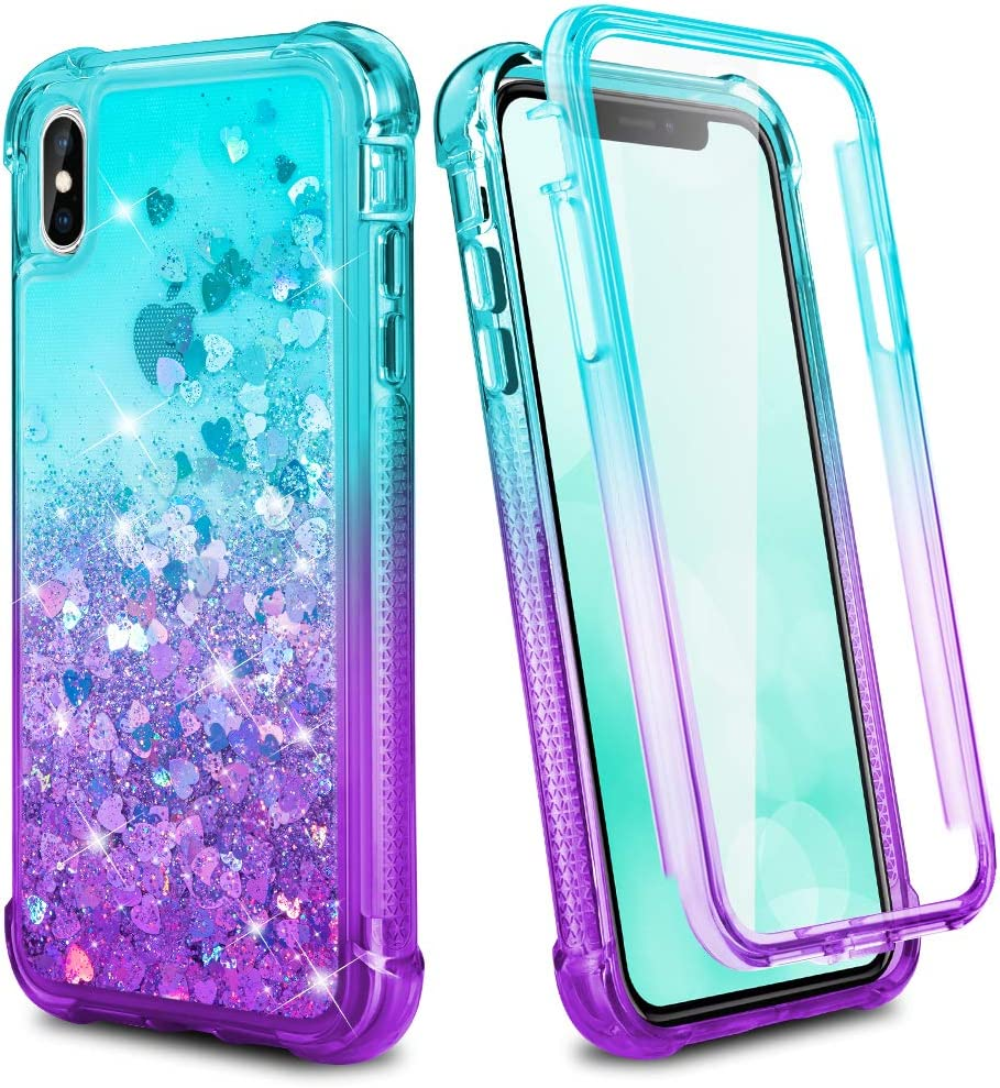 Ruky iPhone X iPhone Xs Case Full Body Rugged Glitter Liquid Case with Built-in Screen Protector Shockproof Protective Girls Women Phone Case for iPhone X iPhone Xs 5.8 inches (Teal Purple)