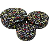 Tootpado Tin Container Gift Box Owl Pack of 3 - Black (1BOX28) - Round Tin Box