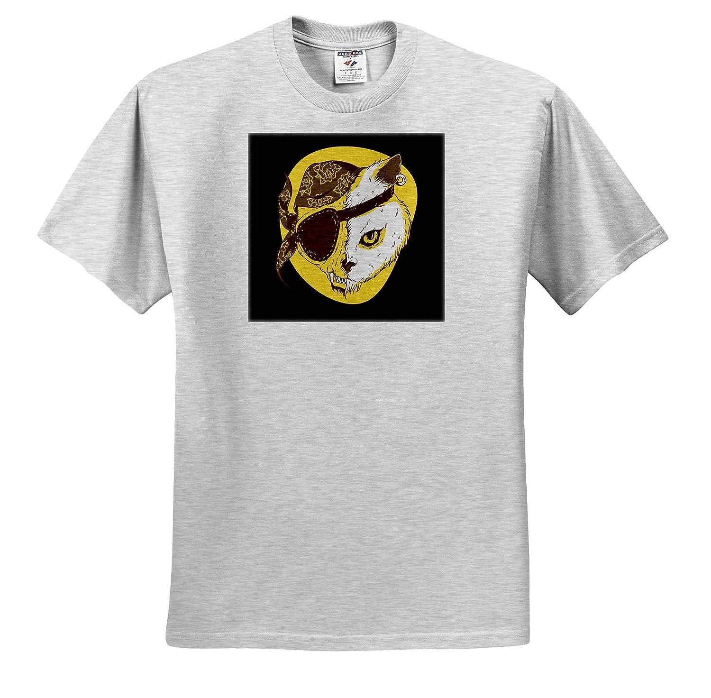 ts/_320729 Halloween Pirate Style of Dangerous Cat Kitty Pet Animal 3dRose Sven Herkenrath Cat Adult T-Shirt XL