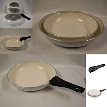 Healthy comiendo Set of 2 antiadherente revestimiento de cerámica juego de sartenes (1 x 24 cm ...
