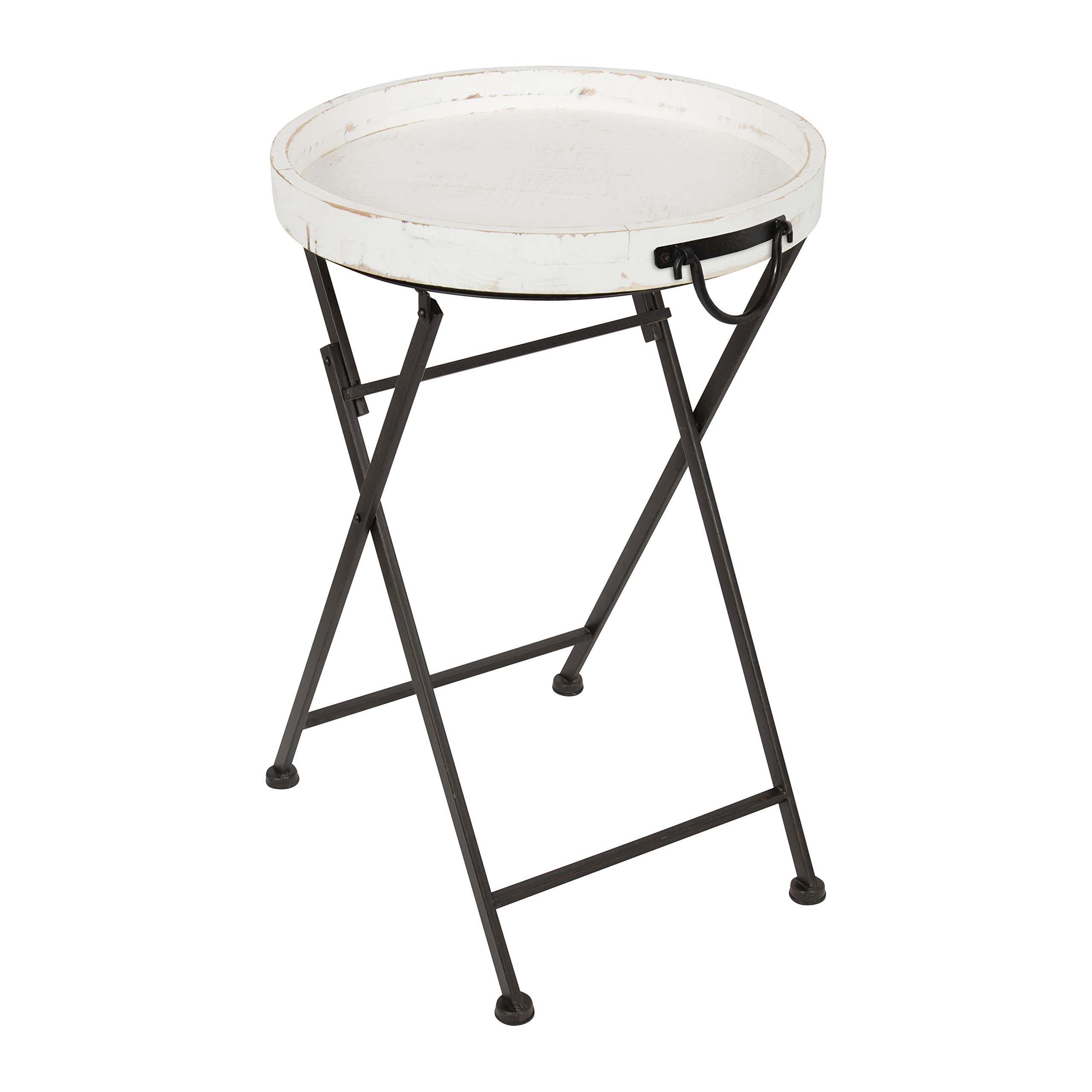 Kate and Laurel Marmora Round Wood and Metal Pop Up Tray Table, White by Kate and Laurel