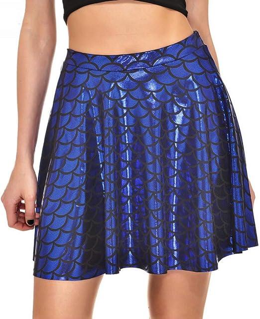 QZBTU Faldas Mujer Faldas Escamas De Color De Cintura Alta Skater ...