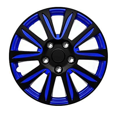 "SUMEX Set 4 Hubcaps 16"" Wheel Cover Marina Black Blue ABS Easy Install Universal FIT: Automotive"