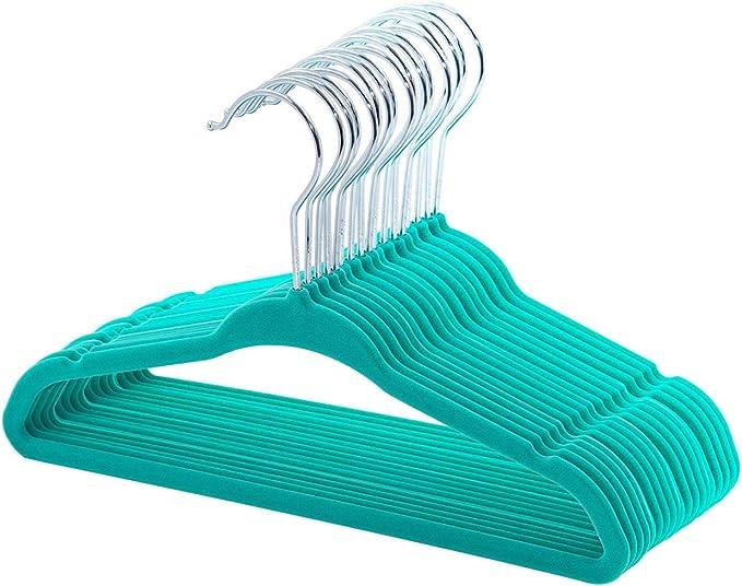 Esylife paquete de 30 unidades Perchas de terciopelo antideslizantes para ni/ños color verde salvia