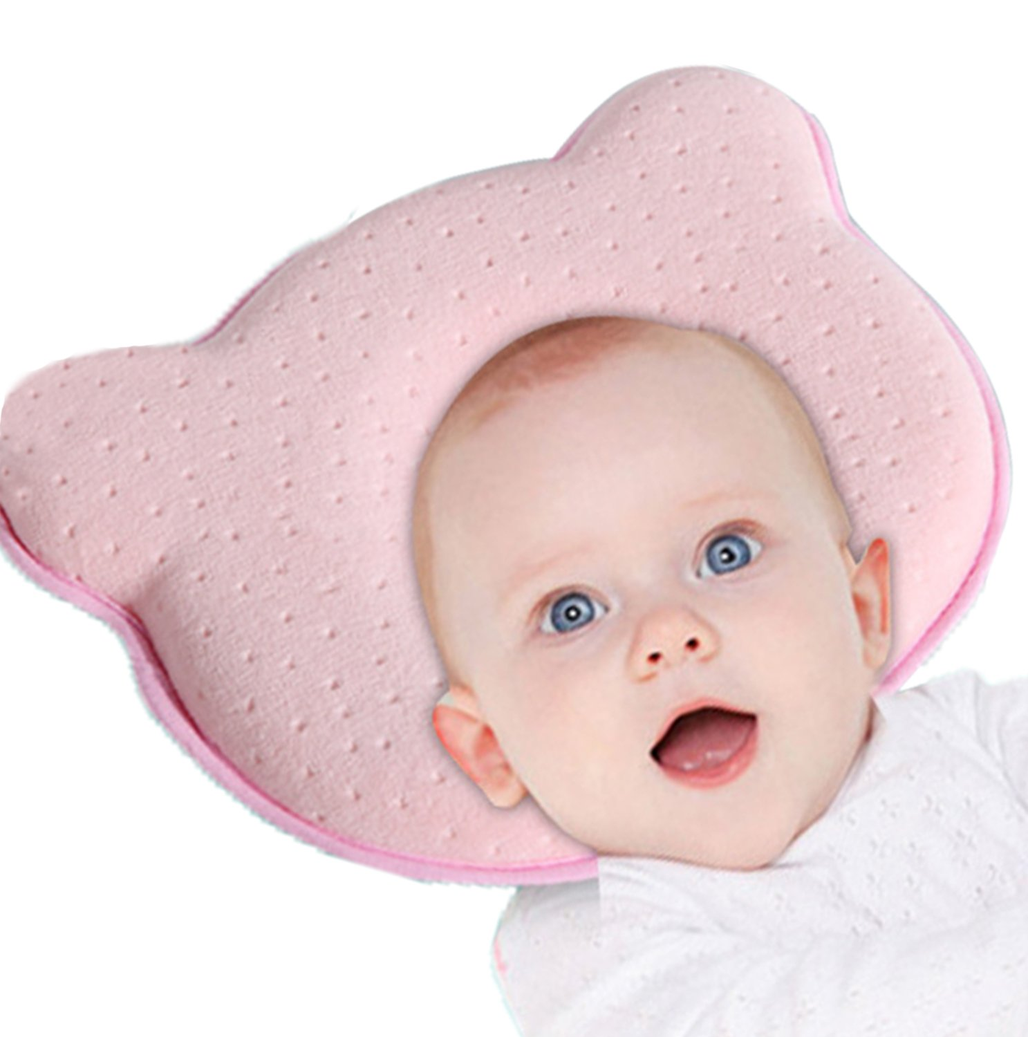 Baby Pillow - Preventing Flat Head Syndrome for Your Newborn Baby Avoid Plagiocephaly Memory Foam Breathable Pillow (Pink) flyhome