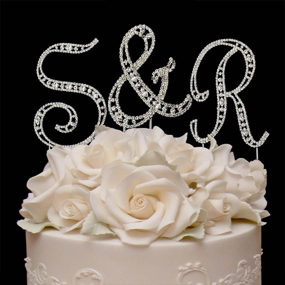 RaeBella Weddings Silver Vintage Style Swarovski Crystal Monogram Initial Wedding Cake Topper 3pc Letter Set + White Metal LOVE Design Small Photo Frame