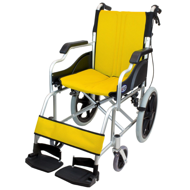 ケアテックジャパン 介助式車椅子 ハピネスコンパクト -介助式- CA-13SU (イエロー(黄色)) B078564NBF イエロー(黄色) イエロー(黄色)