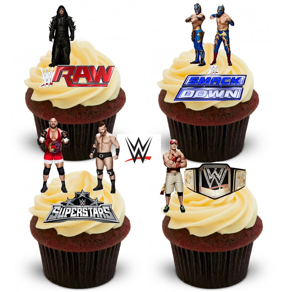 38 WWE Wrestling Stand Up Premium Edible Wafer Paper Cake Toppers