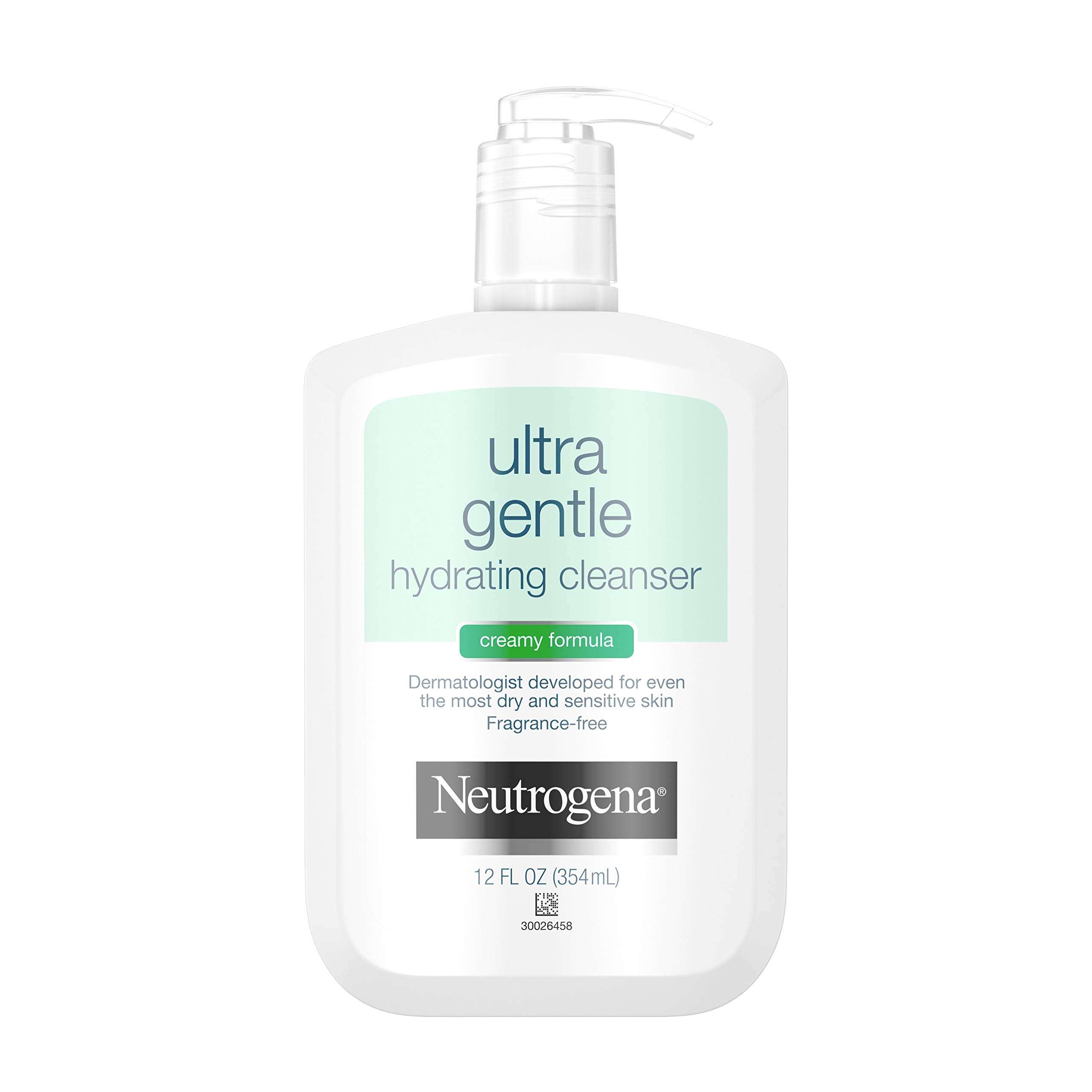 Neutrogena Ultra Gentle Hydrating Daily Facial Cleanser for Sensitive Skin, Acne, Eczema & Rosacea, Oil-Free, Soap-Free, Hypoallergenic & Non-Comedogenic Creamy Face Wash, 12 fl. Oz