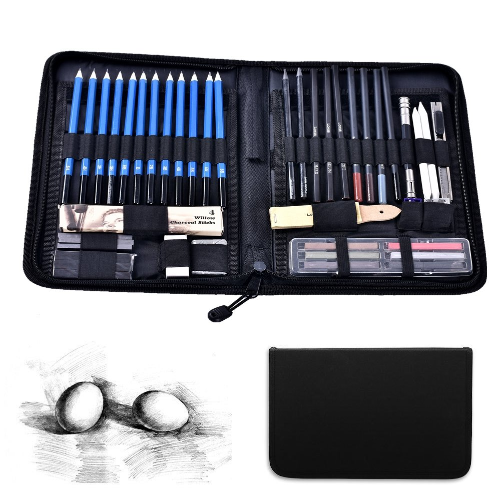 48-piece Professional Art Sketch Pencils Drawing Set With with Tools, Erasers, Kit Bag and Free Sketchpad - Art Supplies, Drawing Pencils, Graphite Pencils, Sketching Supplies for Adults and Teens (40) HMMS
