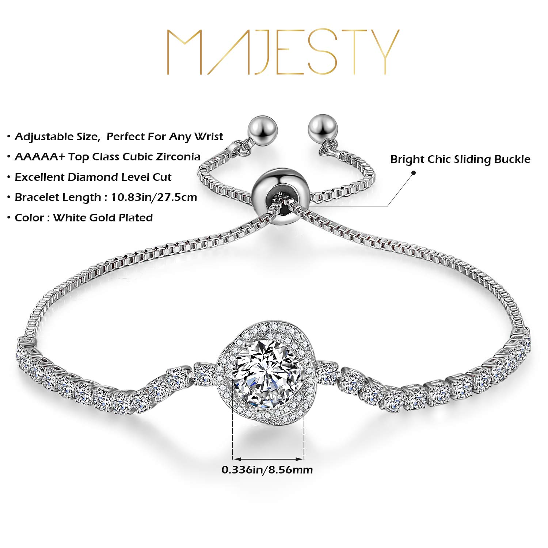 Majesty Tennis Chain Synthetic Diamond Tennis Bracelets for Women Teen Girls Sister Bracelets White Gold Plated Cubic Zirconia Adjustable Bracelets