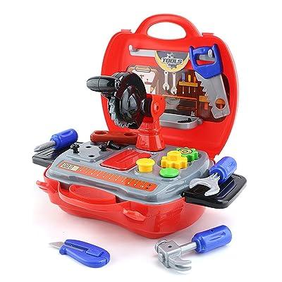 Caisse à outils Outils Jouets,Kidshobby 18pcs Enfants Jeu d'imitation Jouets De Construction Trousse À Outils Portable