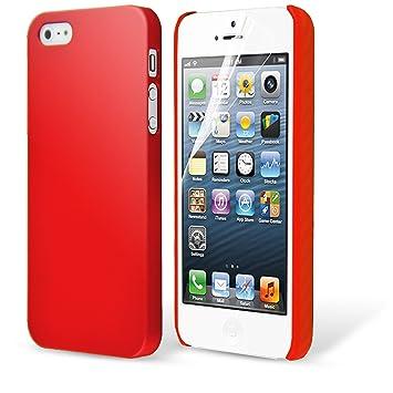 Case Buddy ™ Rojo Funda Carcasa para iPhone 5S 5 Ultrafina mate y Protector de pantalla