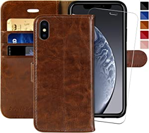 iPhone Xs MAX Wallet Case,6.5-inch,MONASAY [Glass Screen Protector Included] Flip Folio Leather Cell Phone Cover with Credit Card Holder for Apple iPhone Xs MAX