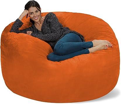 Amazon Com Chill Sack Bean Bag Chair Giant 5 Memory Foam Furniture Bean Bag Big Sofa With Soft Micro Fiber Cover Orange Furniture Decor