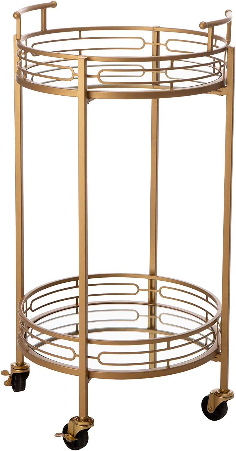 """Glitzhome 27"""" H Round Gold Bar Carts on Wheels 2-Tier Deluxe Metal Mirrored Glass Top Serving Cart"""