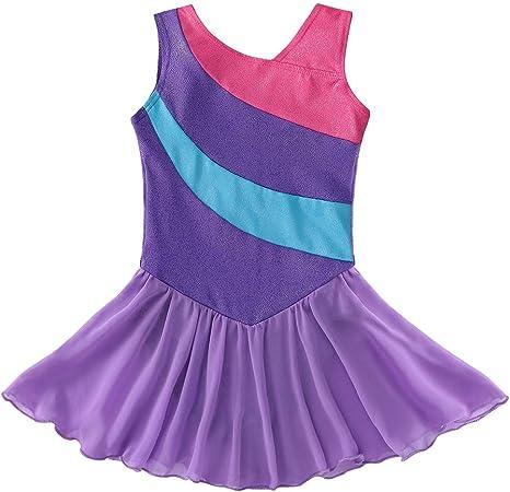 a Strisce con Paillettes e Gonna Senza Maniche tut/ù da Danza per Bambina Kidsparadisy