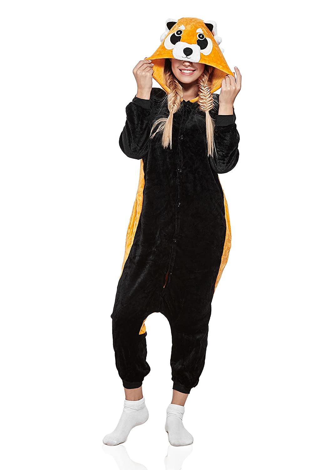 Image of: Kigurumi Animal Nothing But Love Adult Red Panda Raccoon Kigurumi Animal Onesie Pajamas Plush Onsie Cosplay Costume medium Black With Yellow Amazoncomau Fashion Kigurumica Nothing But Love Adult Red Panda Raccoon Kigurumi Animal Onesie