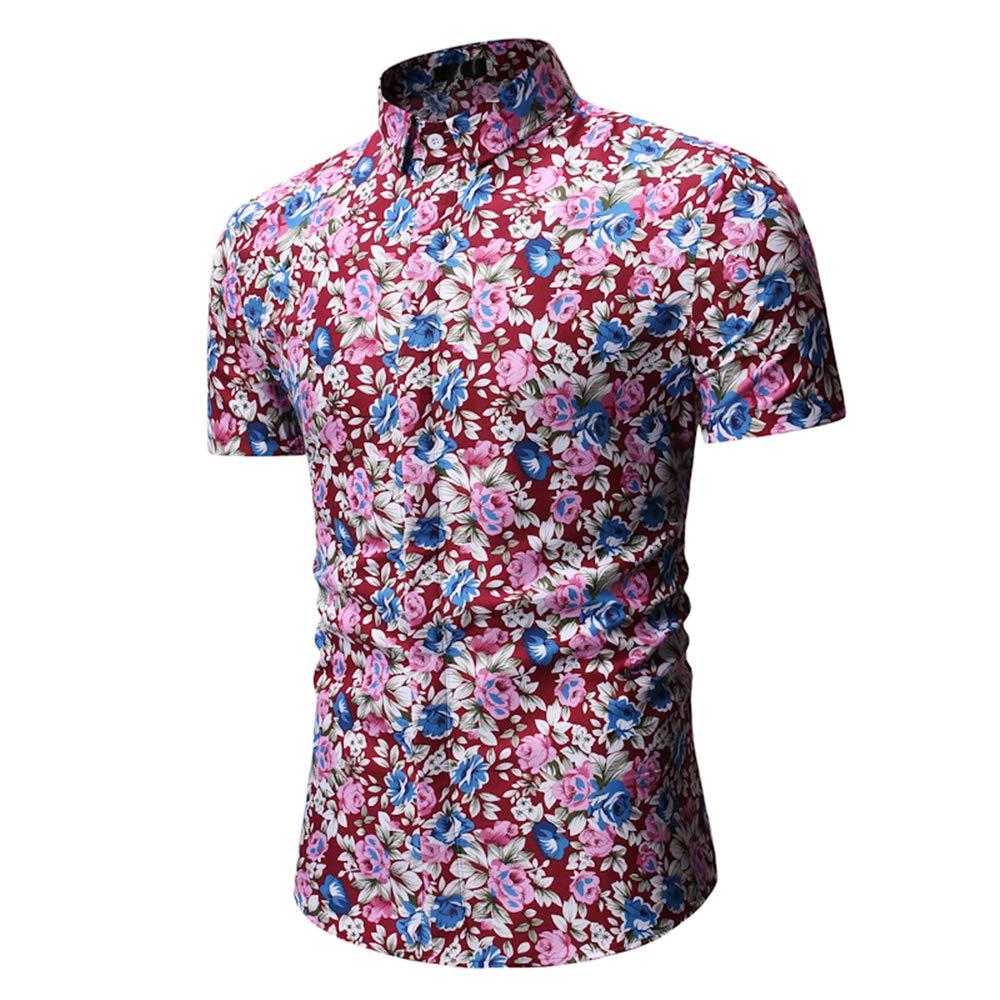Mens Short Sleeve Shirt Slim-Fit Party Flower Shirt Holiday Print Casual Shirts