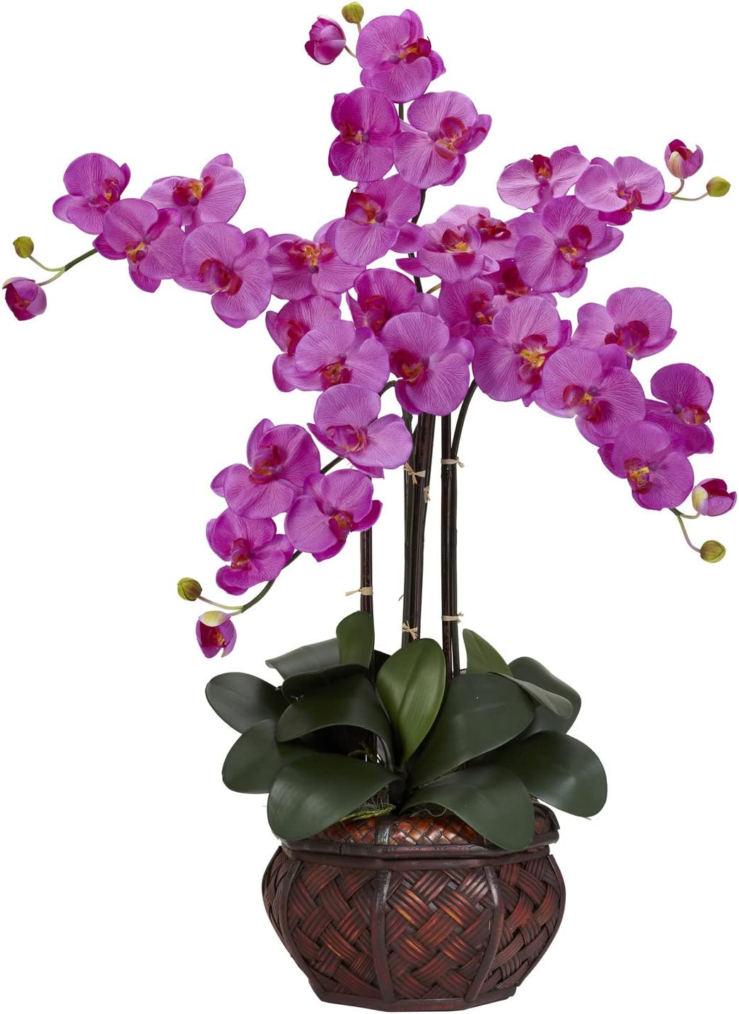 Silk Orchid Plant (Phalaenopsis) in a Decorative Vase