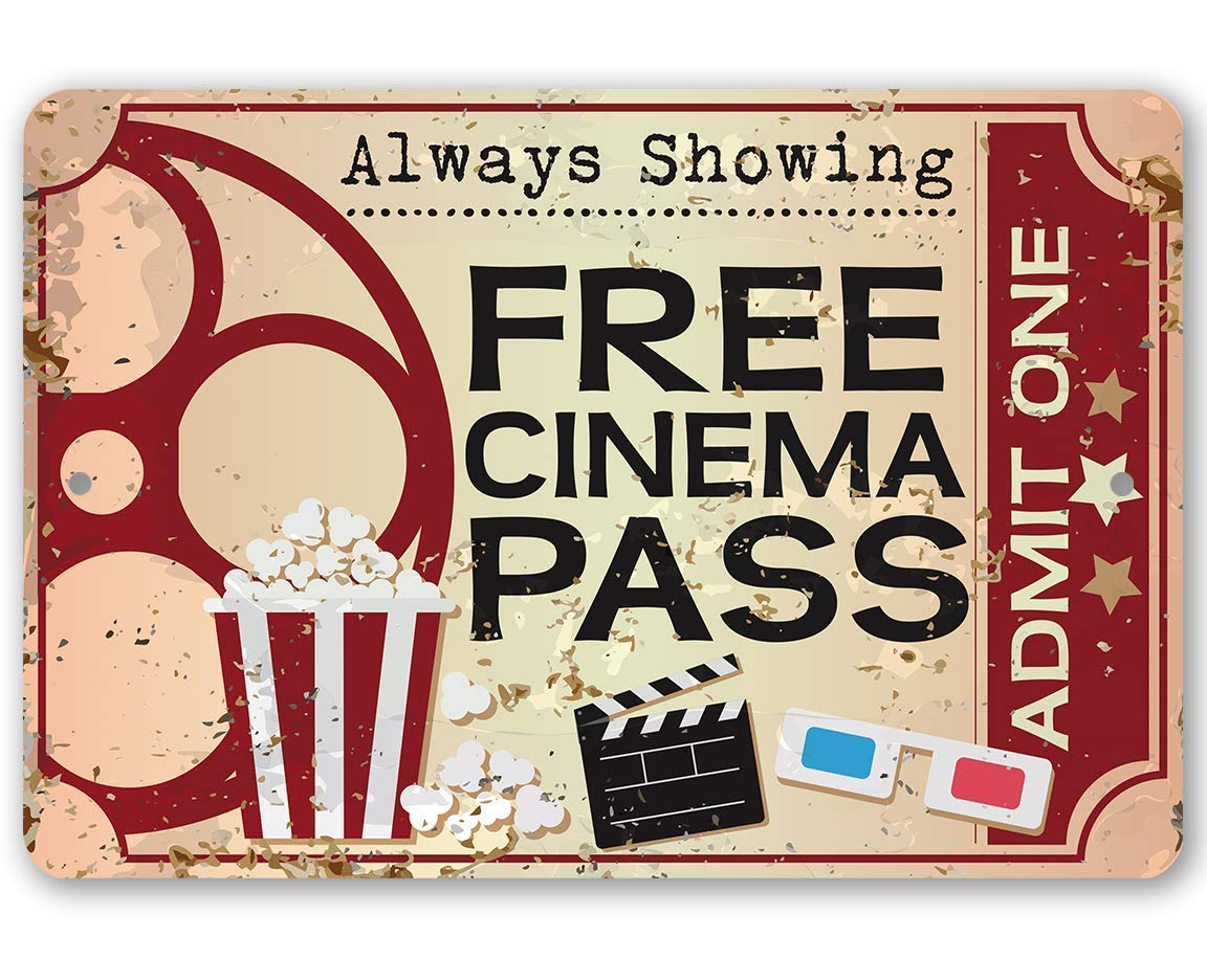 Amazon Com Metal Sign Free Cinema Pass Durable Metal Sign 8 X 12 Use Indoor Outdoor Great Gift For Movie Buffs And Decor For Home Theater Under 20 Handmade