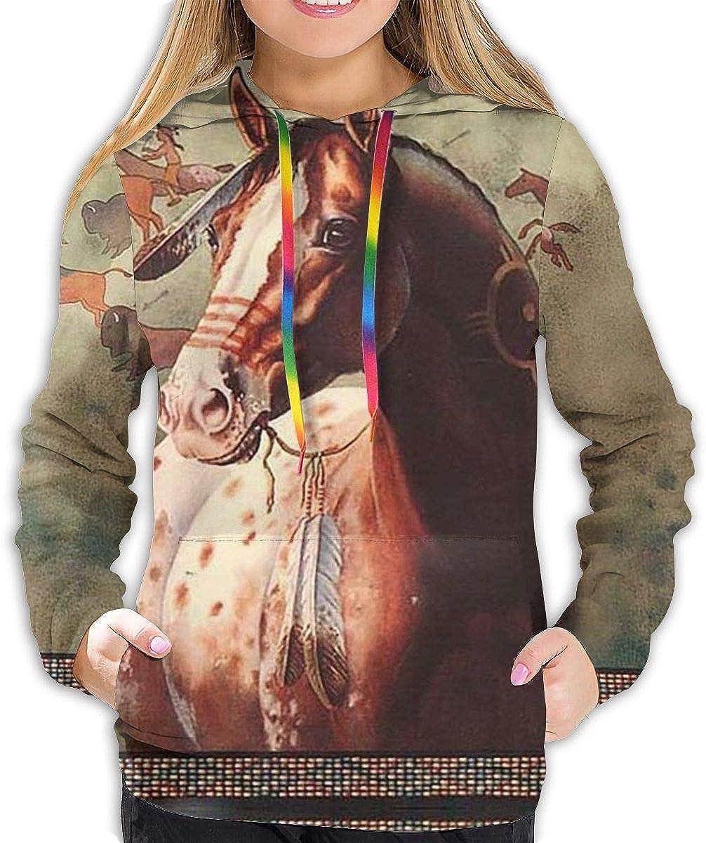 Sudadera con capucha para mujer, diseño de caballo indio americano, con bolsillo