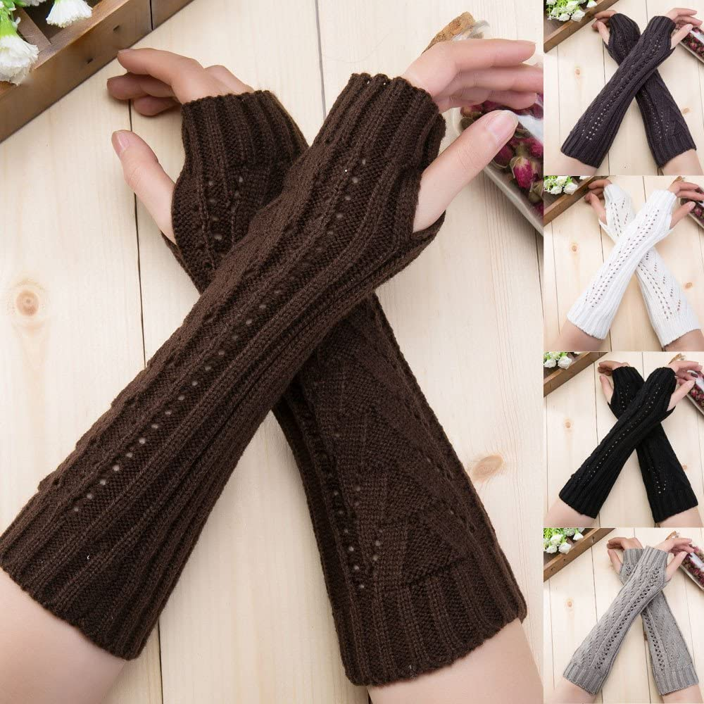 URIBAKE Fashion Womens Arm Warmer Solid Hollow Out Wool Knitted Winter Warm Fingerless Hand Warmer Gloves