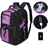 SOLDIERKNIFE Extra Large Durable 50L Travel Laptop Backpack School Backpack Travel Backpack College Bookbag with USB Charging Port fit 17 Inch Laptops for Men Women Including Lock Purple
