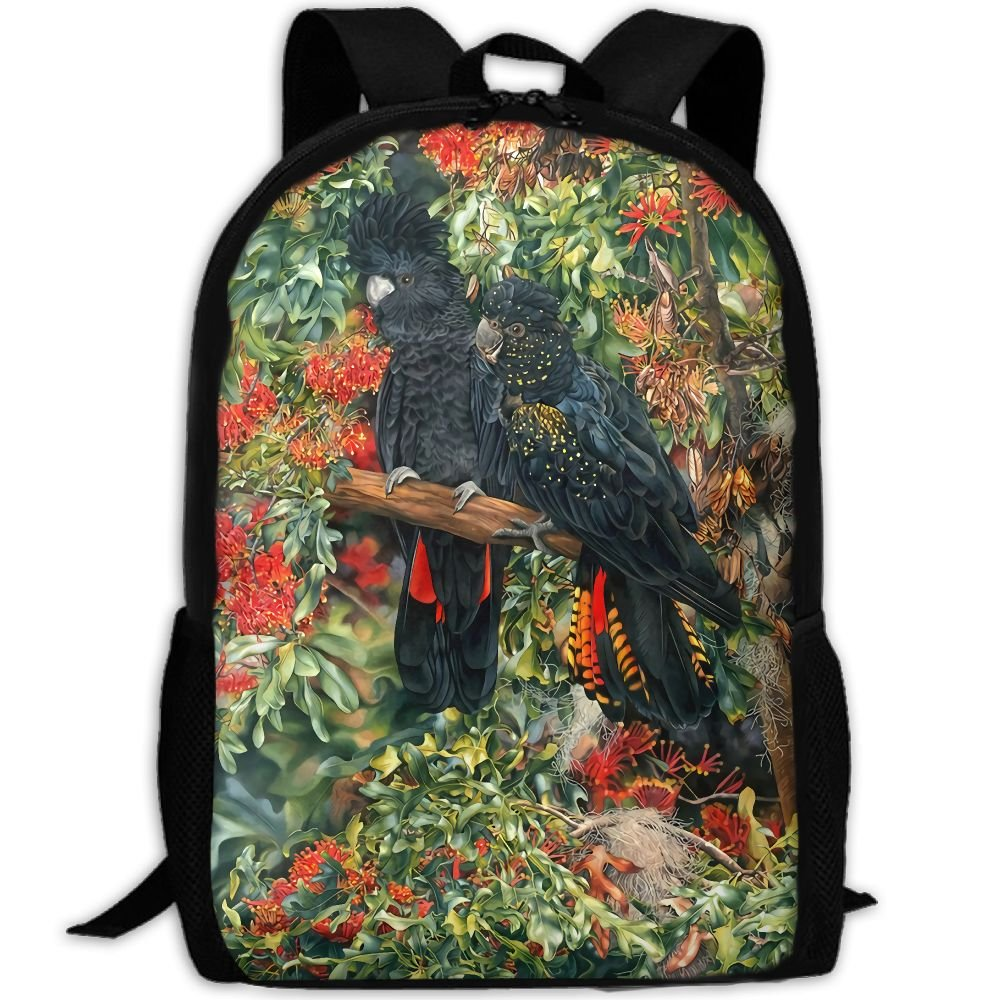 OIlXKV Black Cockatoo Print Custom Casual School Bag Backpack Multipurpose Travel Daypack For Adult