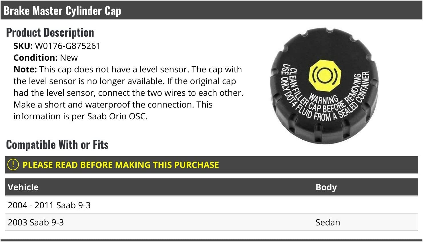 Brake Master Cylinder Cap Compatible with 2003-2011 Saab 9-3 Sedan