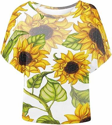 XS-XL INTERESTPRINT Childs T-Shirt Yellow Sunflowers