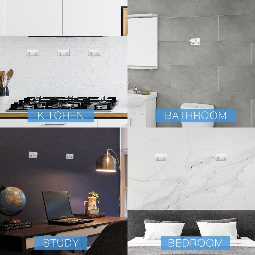 Ganchos Adhesivos Toallero Perchero Ganchos de pared 304 acero inoxidable  Ganchos de pared Autoadhesivo ganchos adhesivos para cocina baño (2 Hooks)   ... 3fb7c8c99f4d
