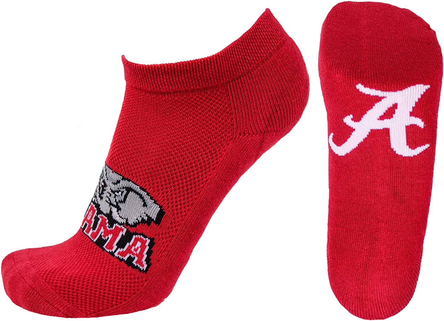 Donegal Bay NCAA Alabama Crimson Tide No-Show Footie, Red, One Size
