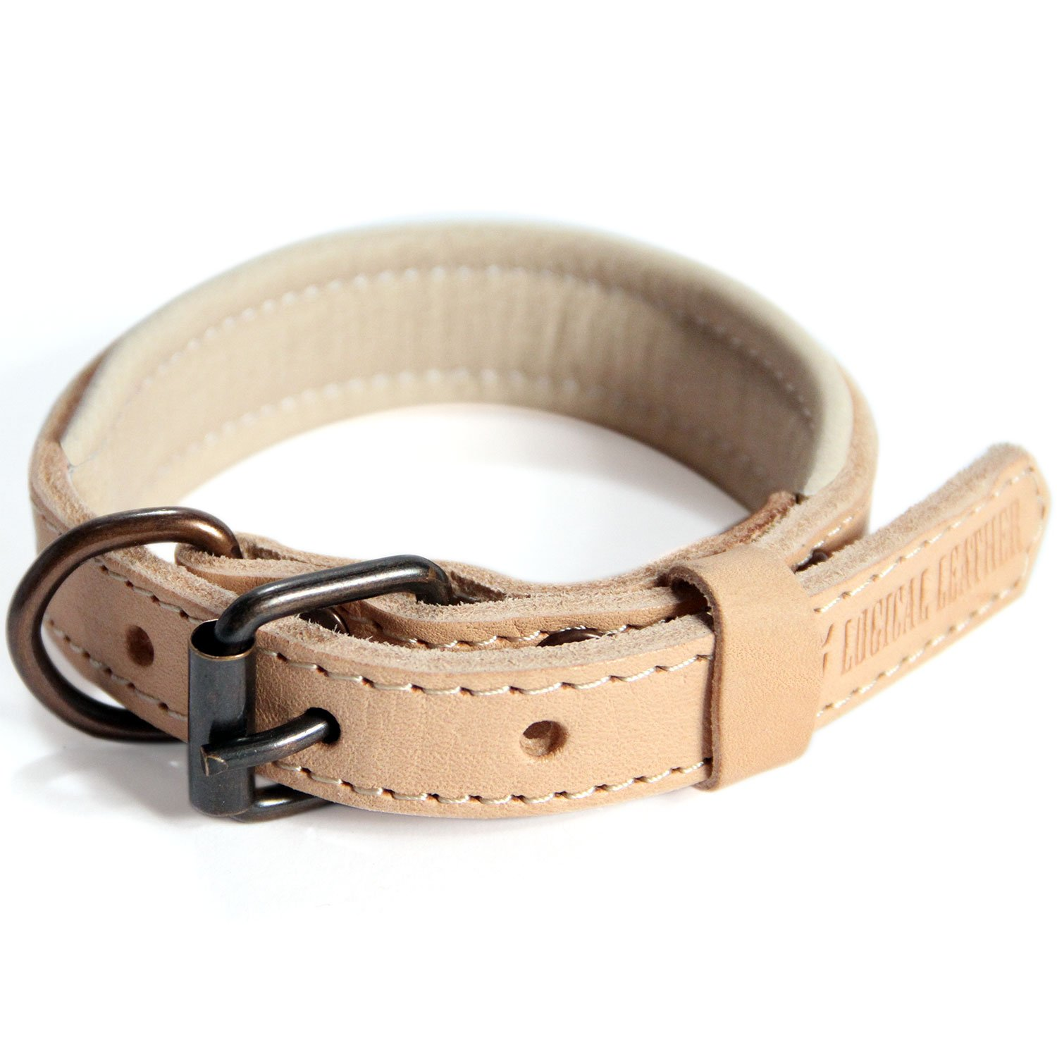 Logical Leather Padded Dog Collar - Best Full Grain Heavy Duty Genuine Leather Collar - Tan - Small