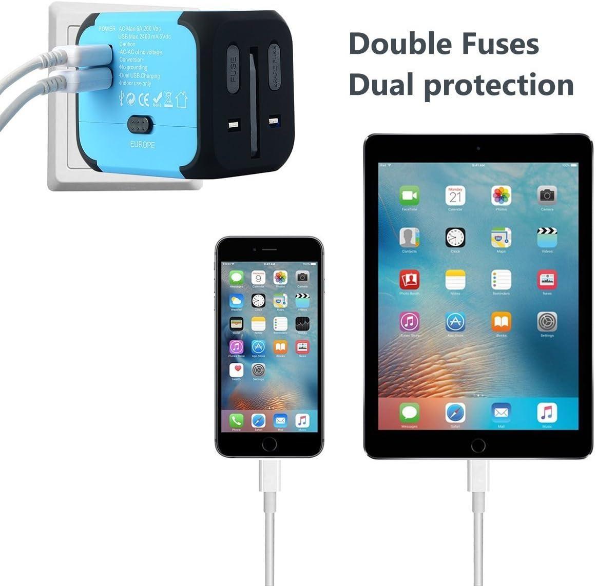 FEIGO LED Adaptateur de Voyage Universel, UE US UK AUS Mini Adaptateur de Chargeur avec 2 Ports USB pour Plus de 150 Pays Vert Adaptateur Prise de Courant International