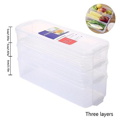 AOLVO Organizador Frigorifico con Tapa, Cajas Organizadora de Plástico de Almacenaje para Fruta, Verdura