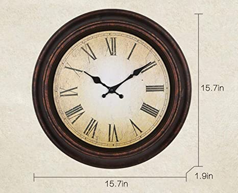 DollylaStore Reloj de Pared Redondo Reloj de Pared Digital Reloj Familiar Europeo Vintage